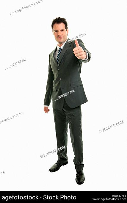 Young businessman in full length standing isolated on white background. Business, office and success concept