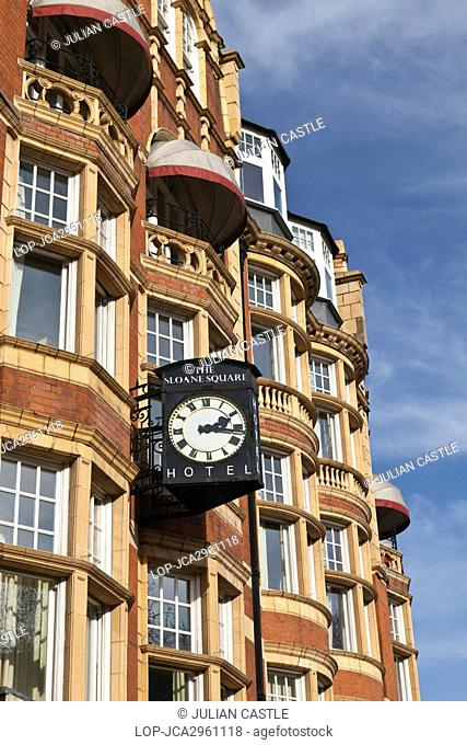 England, London, Sloane Square. A clock projecting from the front of The Sloane Square Hotel