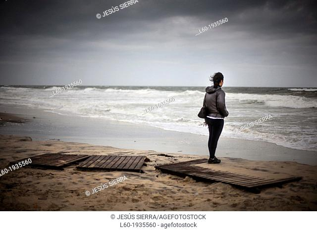 Girl in Matalascañas beach, Huelva province, Andalusia, Spain