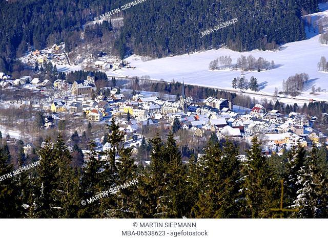 Bischofsgrün, seen from the Ochsenkopf, Fichtelgebirge, Upper Franconia, Franconia, Bavaria, Germany