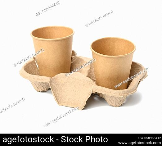 two browne paper disposable cups stand in the tray, white background, takeaway containers