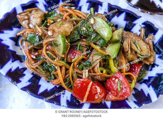 Typical Uzbek Food, (Aubergine Salad) Bukhara, Uzbekistan