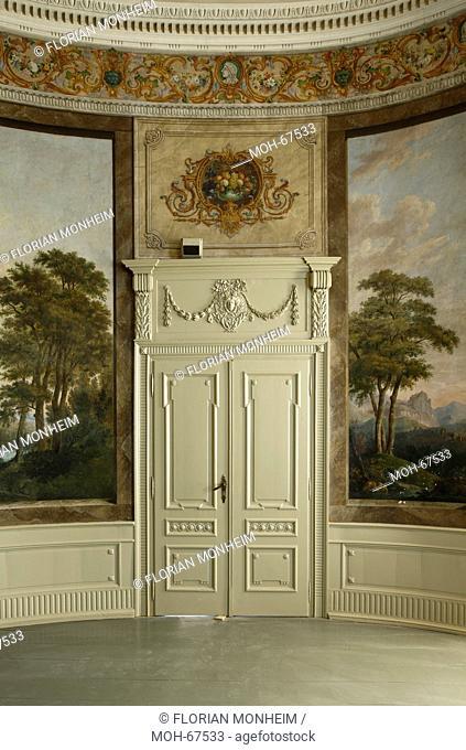 1783 von Johann Gottfried Brügelmann gegründet, erste Textilfabrik auf dem europäischen Festland. Herrenhaus, Gartensaal mit Landschaftsmalereien