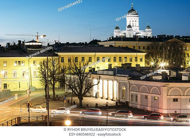 Helsinki, Finland. Night Evening View Of Helsinki Cathedral And Military Prison Building