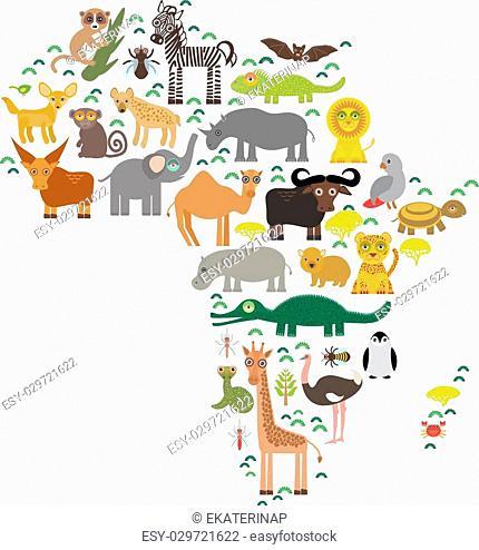 Animal Africa: parrot Hyena Rhinoceros Zebra Hippopotamus Crocodile Turtle Elephant Mamba snake camel mosquito tsetse ostrich lemur Chameleon Monkey Fennec fox...