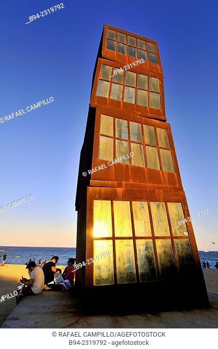 "Sculpture ""L'estel ferit"" ( The wounded star ) by Rebecca Horn at Barceloneta beach, 1992. Barcelona, Catalonia, Spain"