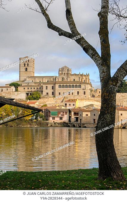 Zamora, Cathedral and Barrio de Olivares, Aceñas de Olivares, from Duero riverside, Catedral de El Salvador, romanesque, XIIth Century, Zamora, Castilla y Leon