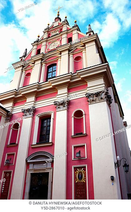 Jesuit Church of the Gracious Mother of God, ornate church in Old Town of Warsaw, Swietojanska street, UNESCO World Heritage