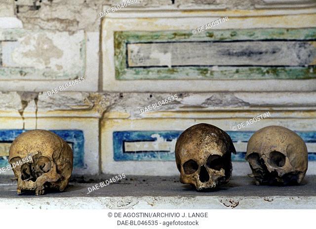 Skulls, Church of St Mary of Idris, Monterrone, Caveoso Sassi di Matera, Basilicata