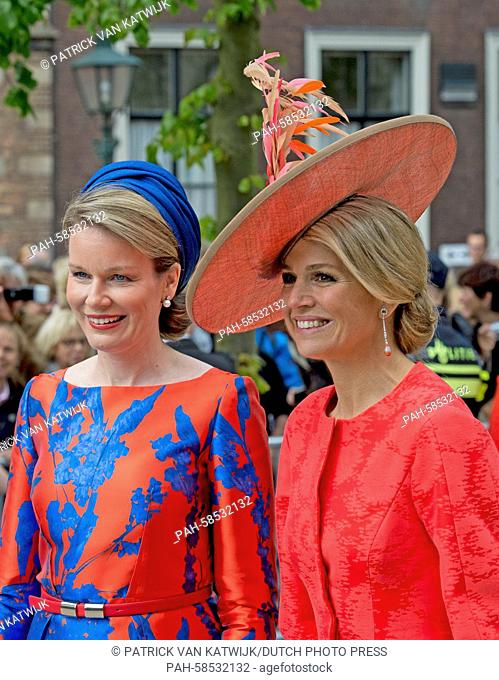 Belgian Queen Mathilde (L) and Dutch Queen Maxima attend the opening of the exhibition 'Vormidable' in The Hague, The Netherlands, 20 May 2015