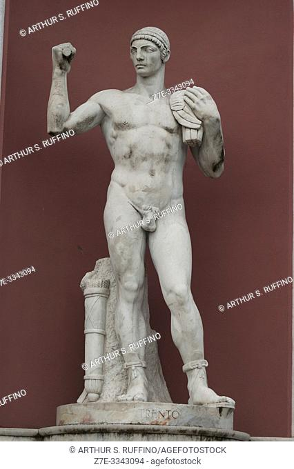Detail of a marble statue of an athlete in a niche in the Foro Italico (sports complex). Rome, Italy, Europe
