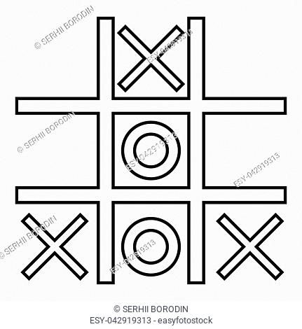 Tic tac toe game icon black color vector illustration flat style simple image