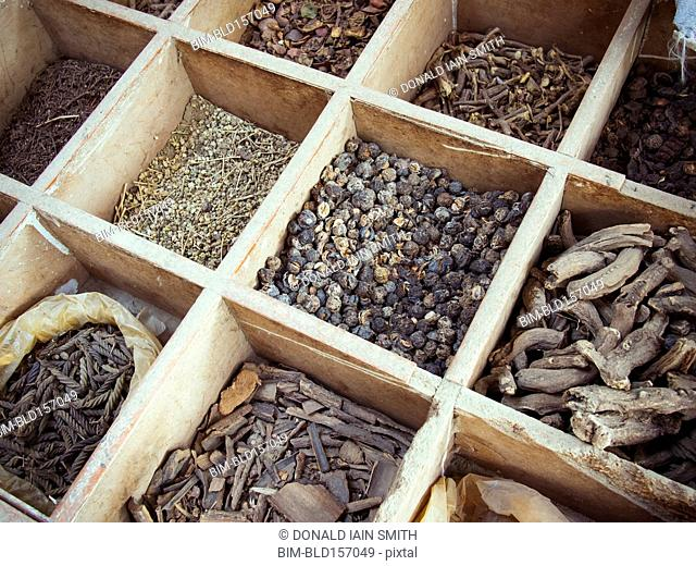 High angle view of dried spices for sale in market