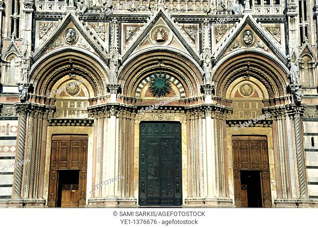 Majestic facade of the Cathedral of Siena, Italy