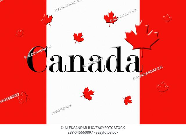 Canadian National Flag With Canada Written On It and Maple Leafs 3D Rendering
