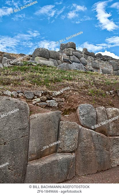 Famous ruins of stones in religious region Saqsayhuaman tourist attration near Cusco Peru