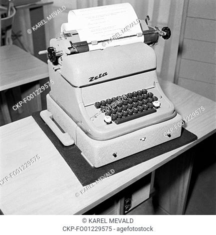 The teleprinter Zeta is exhibited at the III Exhibition of Czechoslovak Engineering in Brno, Czechoslovakia, September 1957. (CTK Photo/Karel Mevald)