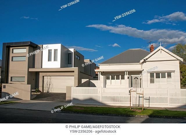 Clashing contemporary and Edwardian architectural styles in the Melbourne suburb of Caulfield