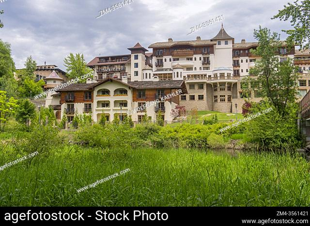 View of the Posthotel Leavenworth from the Waterfront Park along the Wenatchee River in Leavenworth, Eastern Washington State, USA