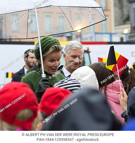King Filip and Queen Mathilde of Belgium visits Chemin de la Corniche(most beautiful balcony of Europe), walked from the palais Grand-Ducal to the HotelnDe...