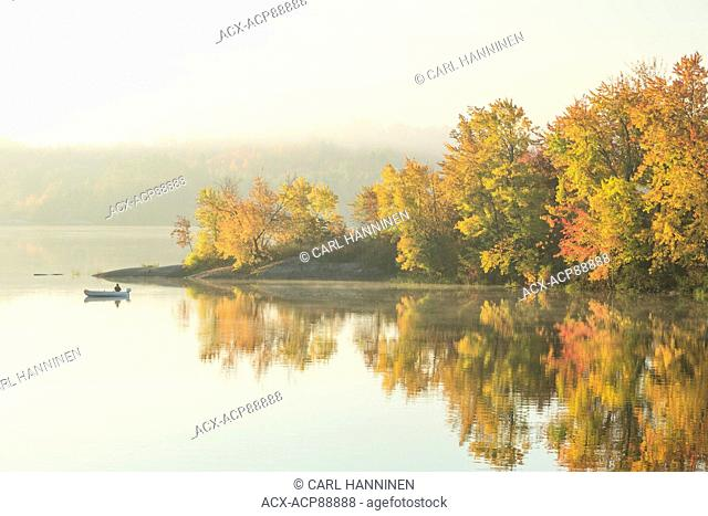 Morning fishing, Vermilion River, Whitefish, City of Greater Sudbury, Ontario, Canada