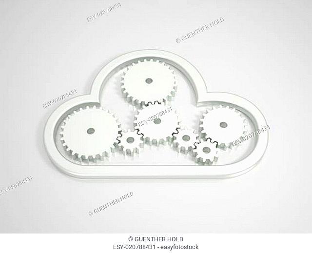 Metallic Cloud Computing Icon on bright Background