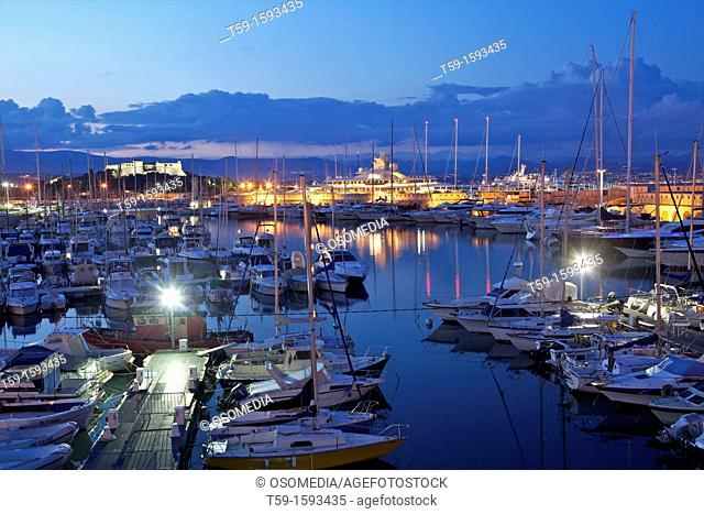 Harbour of Antibes at dusk. France