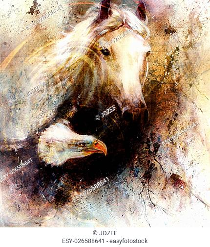 beautiful painting of a white horse with a flying eagle, on an abstract textured background