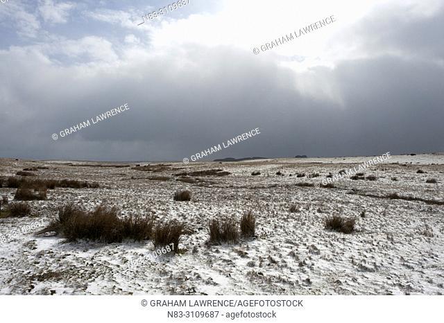 A wintry landscape on the Mynydd Epynt moorland, Powys, Wales, UK