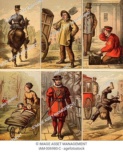 London street scenes  Groom: Dustman: Bootblack: Nursemaid eyeing up soldiers: Beefeater: Boy turning somersaults for pennies  Illustrations by Horace William...