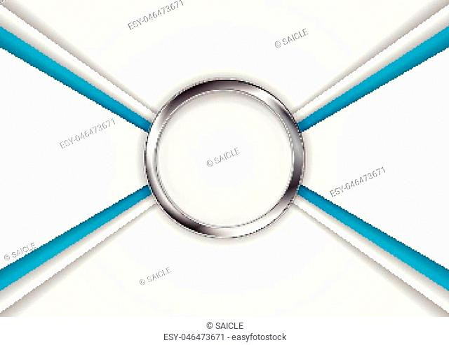 Blue grey corporate abstract background with metal circle button. Vector design