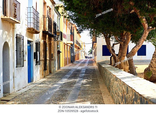 Charming narrow street in the Island of Tabarca. Spain
