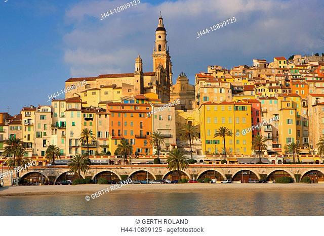 Menton, France, Europe, Côte d'Azur, Provence, Alpes-Maritimes, sea, Mediterranean Sea, beach, seashore, town, city, Old Town, houses, homes, church, palms