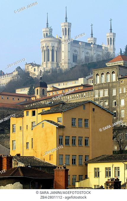 Old Town UNESCO World Heritage Site and view of Notre-Dame de Fourvière, Lyon, France, Europe