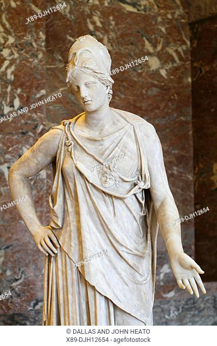 France, Paris, Louvre Museum, Marble Statue of Athena known as Mattei Athena, First century Roman copy