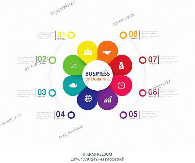 Modern infographics process with connected , icons and text for 8 steps. Vector