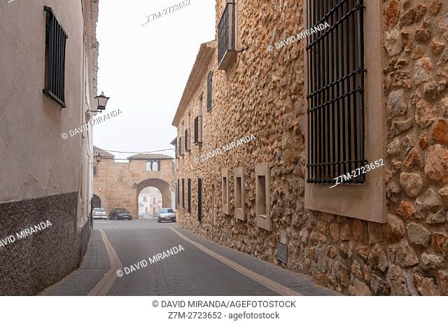 Typical street, Belmonte, Cuenca province, Castile la Mancha, Spain. Historic and Artistic Heritage