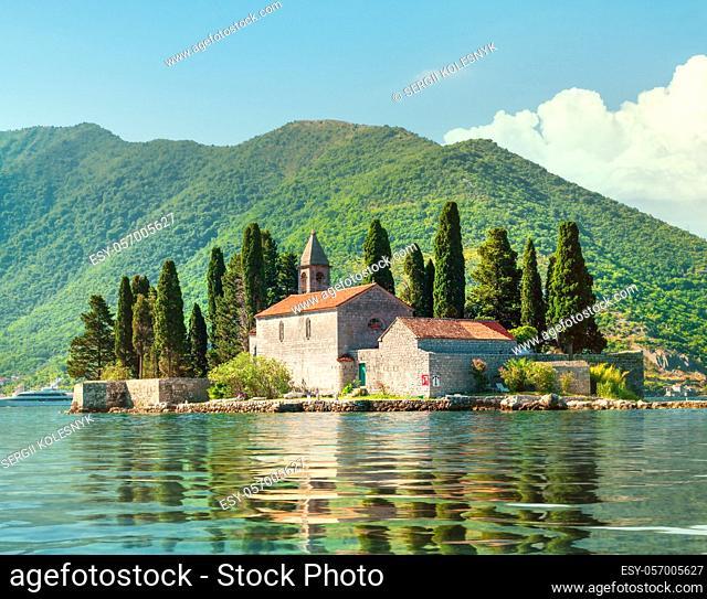 Beautiful mediterranean landscape. St. George Island near town Perast