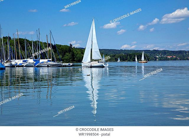 Abounding, Abundance, Bank, Bavaria, Bernried, Bernried At Lake Starnberg, Bliss, Blissful, Boat, Bodies Of Water, Body Of Water, Cloud, Day, Daylight, Daytime