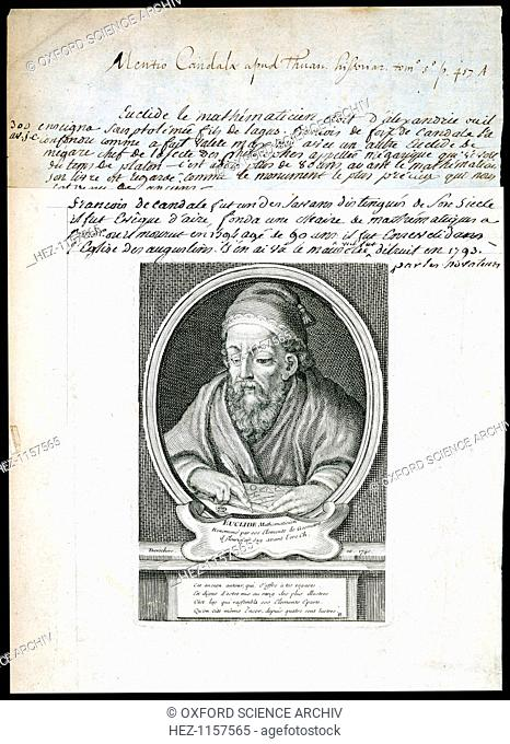 Euclid, Greek mathematician, 1740. Euclid's (fl300 BC) main achievements in mathematics were in the field of geometry