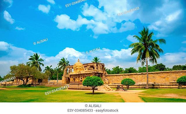 view of the ancient Gangaikonda Cholapuram Temple dedicated to Shiva, Thanjavur (Trichy), Tamil Nadu, South India