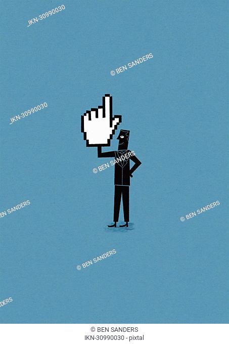 Confident man holding cursor hand