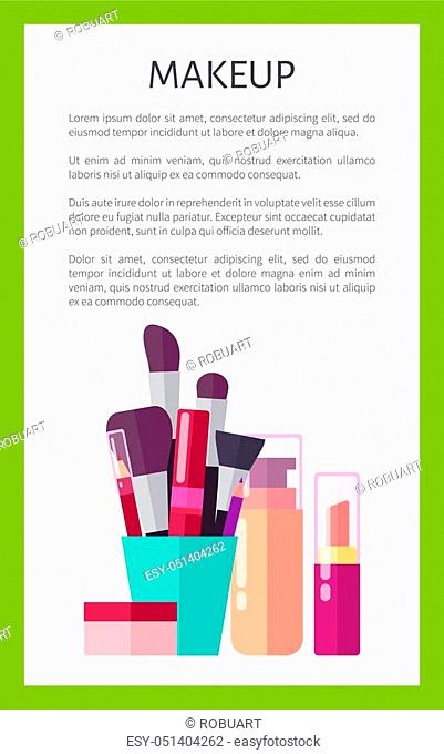 Makeup products of high quality vertical promotional poster. Thick brushes, skin foundation, nude lipstick and tube of mascara vector illustrations