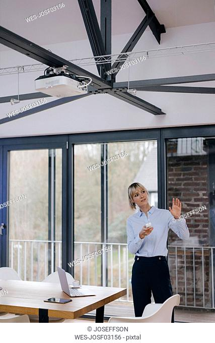 Successful businesswoman holding a presentation