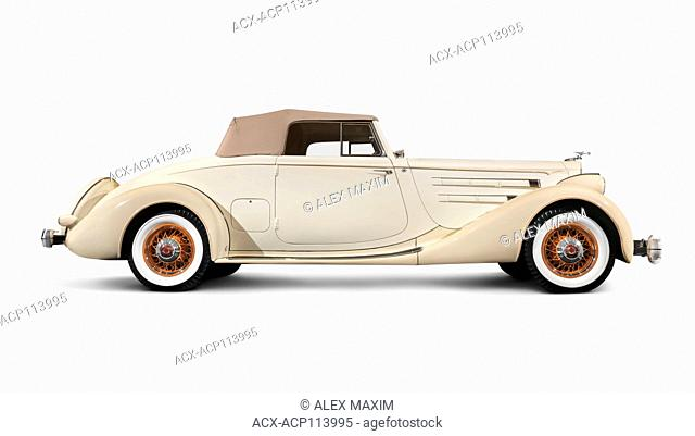 1935 Packard Twelve Coupe Roadster by Dietrich ivory beige classic vintage luxury car isolated on white background with clipping path