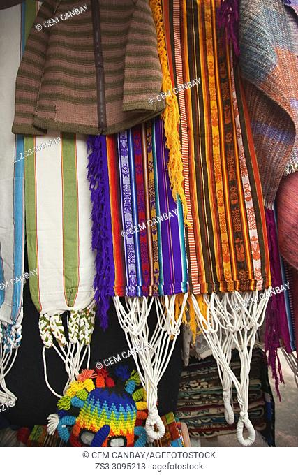 Close-up shot of coloured textiles in Otavalo art and craft market, Quito Area, Imbabura Province, Ecuador, South America