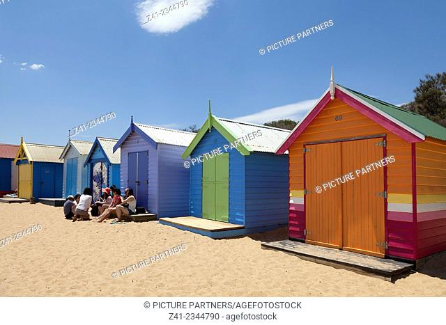 Painted bBeach huts in Melbourne Brighton Beach, Australia
