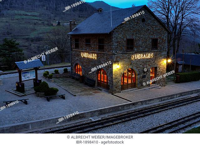 Queralbs railway station, Vall de Núria valley in northern Catalonia, Spain, Europe