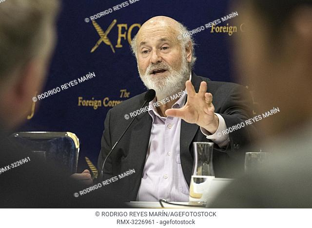 February 01, 2019, Tokyo, Japan - American actor, director and producer Rob Reiner speaks during a news conference for his film Shock and Awe at The Foreign...