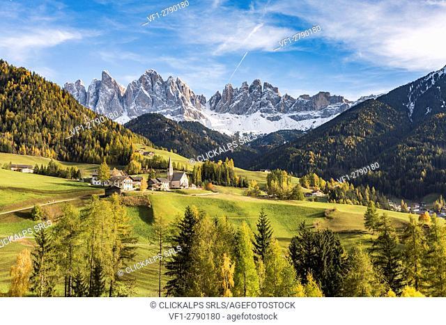 Autumnal landscape with Odle Dolomites peaks on the background. Santa Maddalena, Funes, Bolzano, Trentino Alto Adige - Sudtirol, Italy, Europe